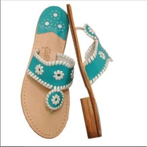 Jack Rogers Navajo Teal and White Classic Sandals